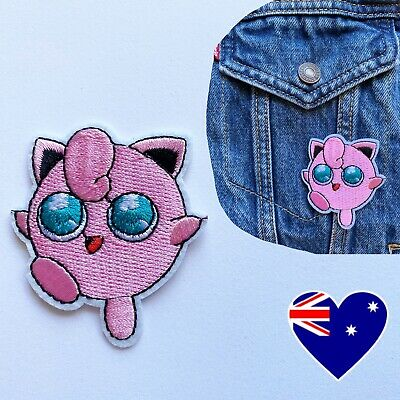 """Jigglypuff Patch Pokemon Embroidered Iron Sew On Applique 2.56/"""" X 2.17/"""" Pink"""