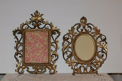 Antique, Victorian Heavy Brass Picture Frame Oval Ornate