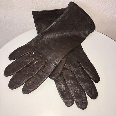 Brown soft Leather Gloves Womens MEDIUM Thin Antron Lining NEW