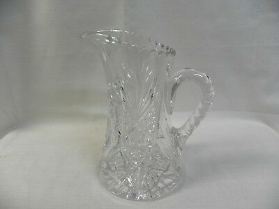 "Clark Cut Crystal Glass Heavy Vintage 9"" Pitcher Pinwheel Pattern Signed"