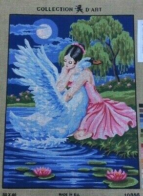 Tapestry - Printed Canvas - 'Ballerina and Swan' - Made in EU - Collection D'Art
