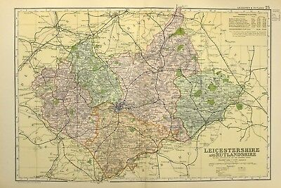 1895 Antique Map Leicestershire Oakham Stamford Market Harborough Hinckley