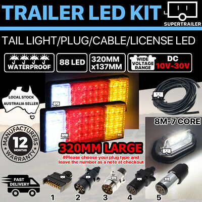 Pair of 88 LED TRAILER LIGHTS KIT 1x NUMBER PLATE, PLUG, 8M 7 CORE CABLE 10-30V
