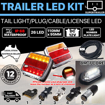 Pair of 72 LED TRAILER LIGHTS KIT 1x NUMBER PLATE, PLUG, 8M 7 CORE CABLE 10-30V
