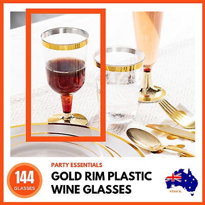 144 x GOLD RIM PLASTIC WINE GLASSES 210mL | Party Wedding Disposable Wine Cups