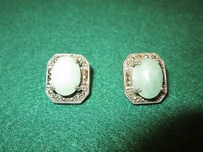 Art Deco Earrings Green Jade In .925 Sterling Clasp By Fantastic Antique Silver