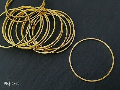 20pc Gold Plated 30mm Brass Rings Round Connector Metal Earring Links CH199