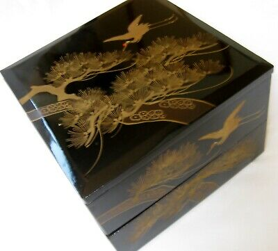 Antique Japanese Wooden Urushi Gold Maki-e Jubako with pine and cranes drawning