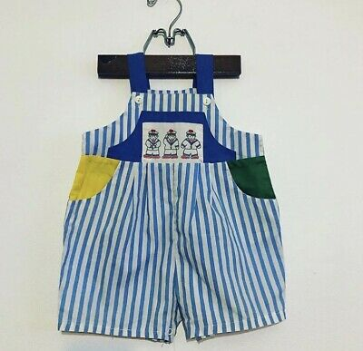 Vintage Retro Nautical Baby Overalls Playsuit Size 0