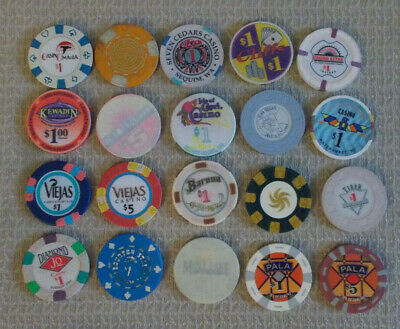 LOT OF 20 MIXED DENOM. CASINO hotel gaming poker chips ~ VARIOUS LOCATIONS (#3d)