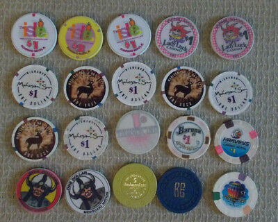 LOT OF 20 MIXED DENOM. CASINO hotel gaming poker chips ~ VARIOUS LOCATIONS (#4d)