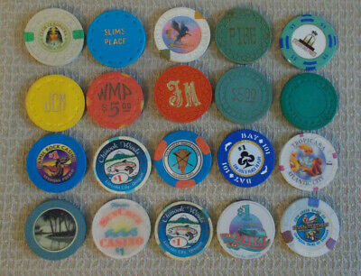 LOT OF 20 MIXED DENOM. CASINO hotel gaming poker chips ~ VARIOUS LOCATIONS (#5d)