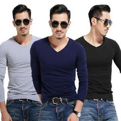 Men's Fashion Slim Fit T-shirt Long Sleeve Tops Pullover V-Neck Blouse Casual