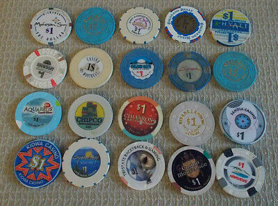 LOT OF 20 MIXED $1.00 CASINO hotel gaming poker chips ~ VARIOUS LOCATIONS (#7d)
