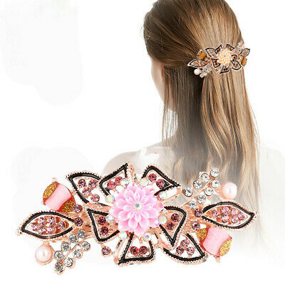Ladies Crystal Flower Hair Clips Pins Barrettes Hairpins Hair Accessories Party