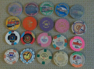 LOT OF 20 MIXED DENOM. CASINO hotel gaming poker chips ~ VARIOUS LOCATIONS (#8d)