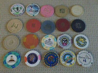 LOT OF 20 MIXED DENOM. CASINO hotel gaming poker chips ~ VARIOUS LOCATIONS (#9d)