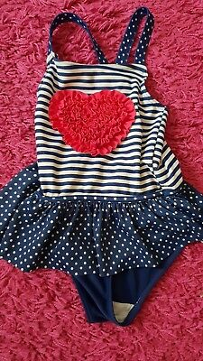 cute swimsuit girl 2-3 years blue with heart from matalan