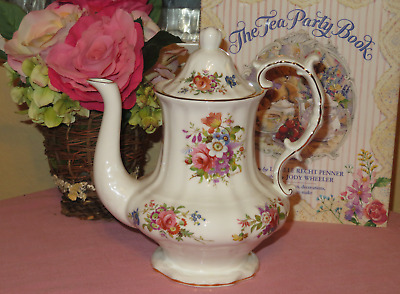VICTORIAN HAMMERSLEY COFFEE / TEA POT Floral Howard Spray Bone China England EUC