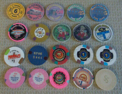 LOT OF 20 MIXED DENOM CASINO hotel gaming poker chips ~ VARIOUS LOCATIONS (#14d)