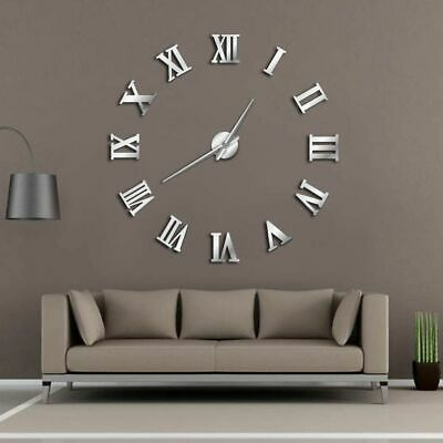 Modern DIY Large Wall Clock 3D Mirror Surface Sticker Home Decor Art Giant Wall