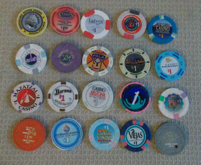 LOT OF 20 MIXED DENOM CASINO hotel gaming poker chips ~ VARIOUS LOCATIONS (#15d)