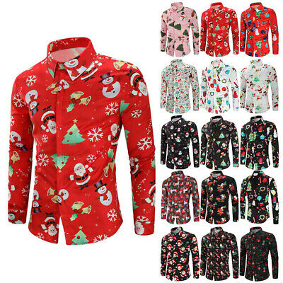 AU Men Christmas Print Shirts Classic Xmas Party Long Sleeve Top Blouse Pullover