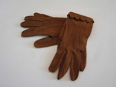 Short Brown Vintage Cotton Gloves With Fancy Turn Back Edge