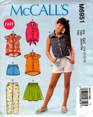 McCalls Sewing Pattern 6951 M6951 Girls Tops Shorts Skirt Pants Size 7-14 NEW
