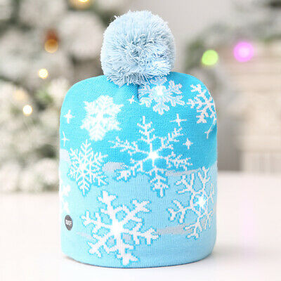 Beanie Hat Winter Knit Cap with LED Light Xmas White Snowflake Christmas Santa