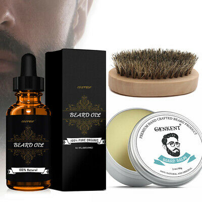 Beard Care Kit For Men-Beard Oil+Beard Balm+Free Beard Brush Boosts Hair Growth