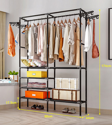 Large Bedroom Clothes Rail Open Wardrobe Steel Stand Storage Rack Shoe Shelves
