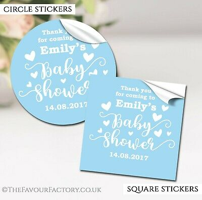 Baby Shower Stickers Labels for Favours Party Bags Personalised Love Hearts Blue