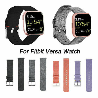 For Fitbit Versa Strap Replacement Woven Fabric Watch Band Canvas Metal Buckle