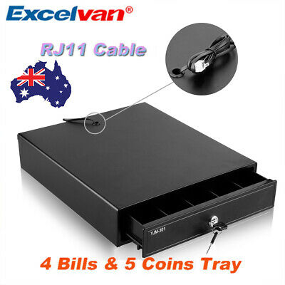 Heavy Duty Electronic Cash Drawer Register POS Removable 4 Bills 5 Coins Tray AU