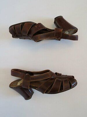 1940s Leather Peep Toe Sandals With Heels - Size AU/US4