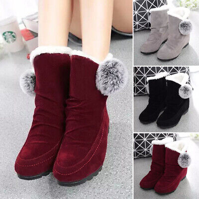 Womens Fur Lined Snow Boots Ladies Warm Winter Slip On Grip Sole Booties Shoes