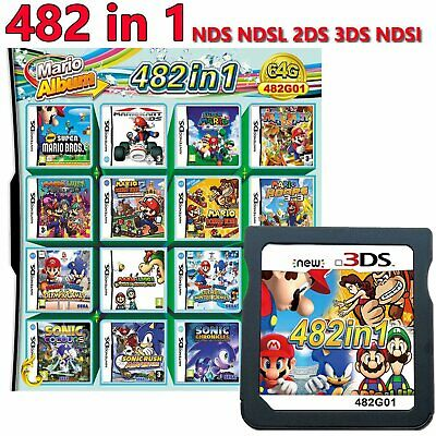 482 in 1 Video Mario Game Cartridge Multicart for NDS NDSL NDSi 3DS 2DS XL