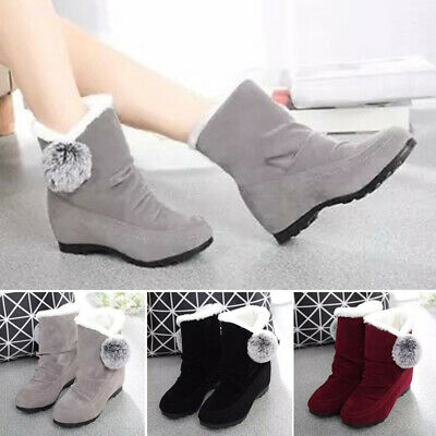 Women Warm Winter Outdoor Snow Ankle Boots Slip On Round Toe Fluffy Flat Shoes