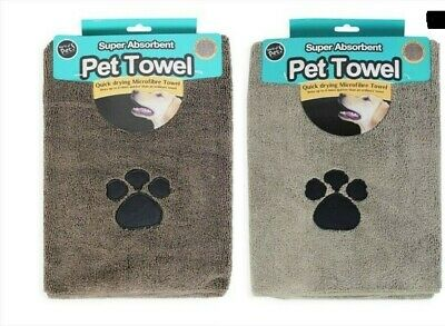 2 pack MICROFIBRE PET TOWEL with Paw design in Taupe and Brown