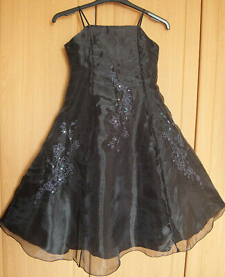 VGC New long black GLOSS party dress with sequins beads underskirt Age 10-11 yrs