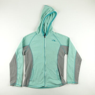 The North Face Girls Youth Size L Full Zip Hooded Fleece Jacket Turquoise Gray