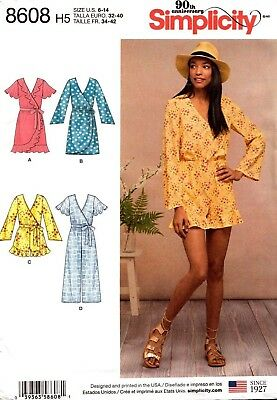 Simplicity Sewing Pattern 8608 Womens Wrap Dress Jumpsuit Size 6-14