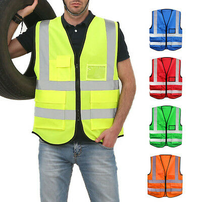 EE_ AU_ High Visibility Zipper Front Traffic Warning Safety Vest With Reflective