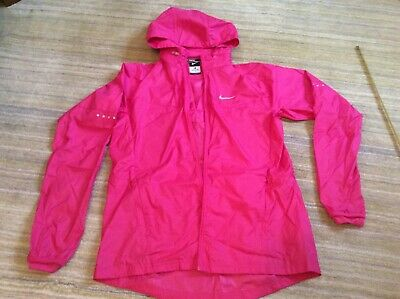 Nike running zip up jacket hood pockets cerise pink