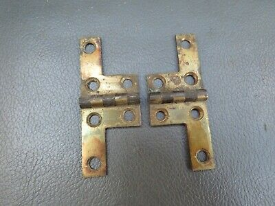 Antique or vintage writing slope box pair brass L hinges - spares parts