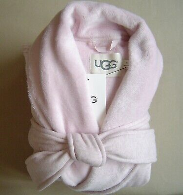NWT $130 UGG DUFFIELD II Women M FLEECE SHAWL ROBE Seashell Pink Heather 1095612