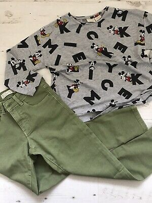 Zara Girls Mustard Knit Jumper And Check Leggings Outfit Set Age 8 9 BNWT