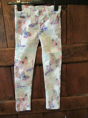 Next Girls Ivory/Pink/Purple Butterfly Jeans Age 8 Years VGC