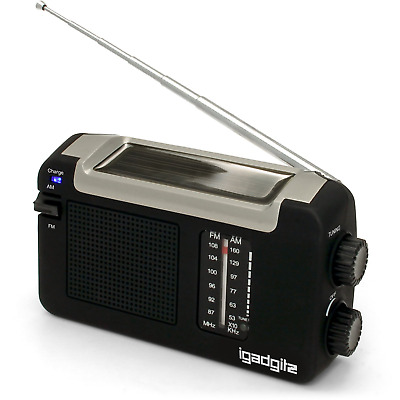 iGadgitz Xtra U4457 Wind Up, Solar & USB Rechargeable Portable AM/FM Radio -
